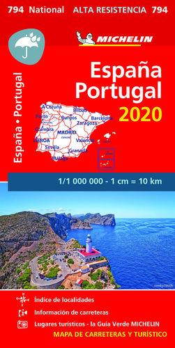 MAPA NATIONAL ESPAÑA - PORTUGAL 2020 ´ALTA RESISTENCIA´ 794 . 1:1.000.000