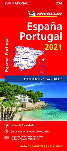 MAPA ESPAÑA-PORTUGAL 2021. 734. 1:1.000.000 MICHELIN
