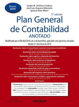 PLAN GENERAL DE CONTABILIDAD ANOTADO. 7ª ED. 2020